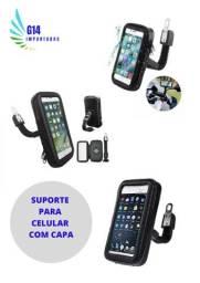 Suporte de celular com capa protetora para moto