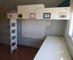 Cama suspensa solteiro, colchão e mesa (combo)