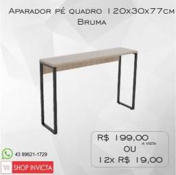 Aparador Home Office Bruma Pé Quadro 120x30x77cm / Nova / NFE