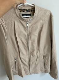 Jaqueta de corino bege