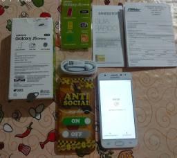 """Samsung J5 Prime, tela de 5"""", 32 GB rom, biometria, 2 GB RAM, NF, estado de novo"""