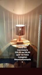 Luminária dê mesa em marchetaria 200,00 por 90,00