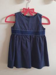 Vestido Social azul marinho 3 a 6 meses