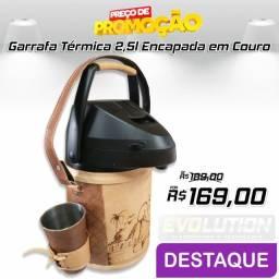 Garrafa Térmica 2,5 litros Com revestimento em couro