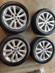 Jogo de rodas 16 original Honda city Civic furação com pneus