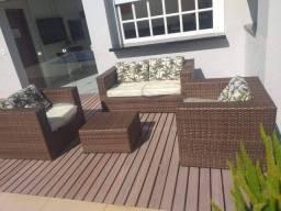 Conjunto de sofá Lisboa em fibra sintética