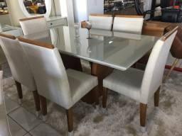Mesa palmas sala de jantar retangular laqueada branca nova 6 cadeiras