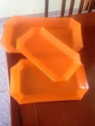 Kit 3 travessas de vidro laranja