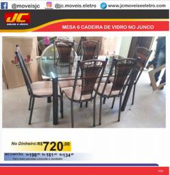Mesa 6 cadeiras de vidro