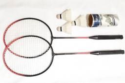Kit Badminton Art Sport Com 02 Raquetes E 03 Petecas