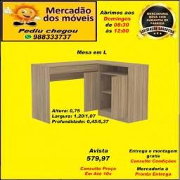 Mesa em L 2 Portas e 2 gavetas em até 10x nos cartões(Entrega e montagem grátis)