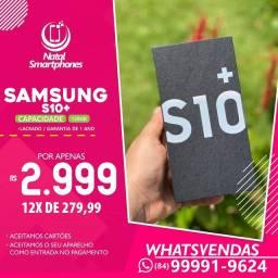 Samsung Galaxy S10 PLUS (128GB) - 8GB RAM ( AZUL OU BRANCO ) NOTA FISCAL+1 ANO GARANTIA
