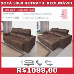 Sofá retrátil reclinável marrom