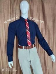 camisa social masculina algodão 60% tam. G