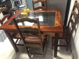 Mesa de jantar vidro e Angelim
