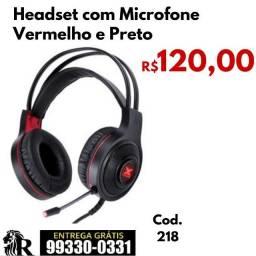 Headset com Microfone Vermelho e Preto