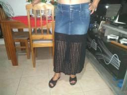 Saia jeans com crochê