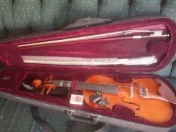 Violino Michael+espaleira+case+2arcos+afinador eletrônico +breu