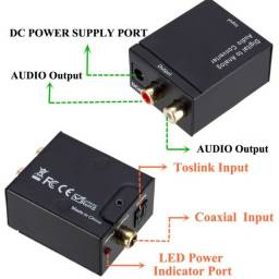 Kit Conversor Adaptador Óptico Coaxial Digital + Cabo Óptico Smart Tv com saída Rca