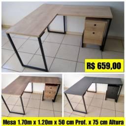Kit Mesa de Canto e Gaveteiro Industrial Pes metalicos Novo