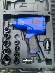 Kit Chave de Impacto Pneumática 1/2 Pol. 7000RPM com Maleta e 14 Acessórios