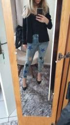 Calça jeans estampada número 36