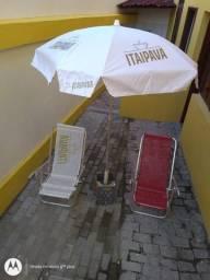 Sombreiro branco padrão Kit Praia - sol descanso cooler lazer sombreiro mesinha feries
