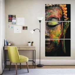 Quadro Decorativo O Rosto de Buda -  Mosaico 3 peças (Promoção)