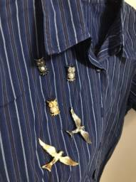Camisa Manga Curta com Broches G