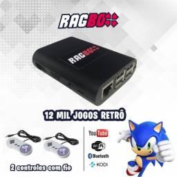 Video Game Retrô Ragbox 64 com 12 Mil Jogos Retrô e 2 Controles Super Nintendo