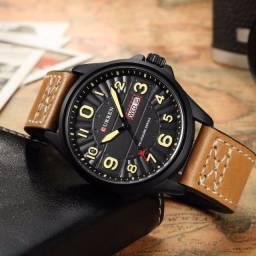 Relógio Masculino Curren Analógico 8269 Militar Retrô - Bege e Preto