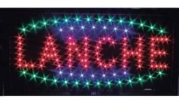 """Placa de Led escrito Lanche """"promoção"""""""
