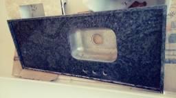 Bancada granito para cozinha, com cuba inox novos