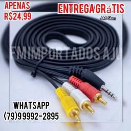Cabo Audio Video P2 P3 X RCA 3 Metros p/ Tv box celulares, Entrega Grátis