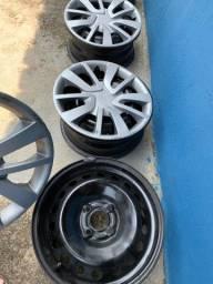 Conjunto de roda e calota aro 15