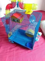 Hamster Gaiola mansão 3 andares para roedores  aceito cartão