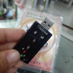 Placa som adaptador de P2 para USB