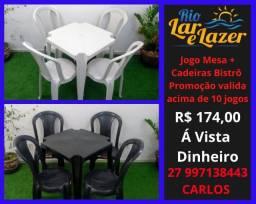 Cadeira Plástica Bistrô + Mesa 70x70 ( Jogo )