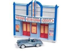 Diorama Cinema com Corvette Convertible 1958 1:64 Johnny Lightning