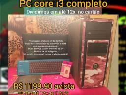 PC core i3 completo 6Gb HD de 1000Gb