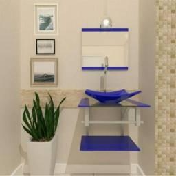 Vende-se pia/gabinete de vidro na cor azul