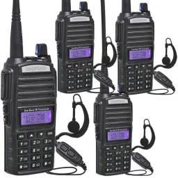 Kit 4 Rádio Ht Comunicador 5w Bf Uv-82 Dual Band Fm