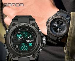 Relógio Eletrônico Digital Led Sanda Masculino Com Display Duplo