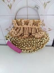 Bolsa de festa Chenson Dourada com pedrarias