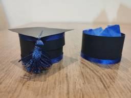 Lembrancinha de formatura chapéu capelo na cor azul