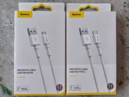 Cabos USB Tipo C e Micro USB (V8) Baseus, carregamento rápido até 3A *1m