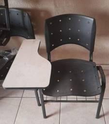 Kit c/ 21 Cadeiras Escolares Com Prancheta Cor Preta - Seminovas