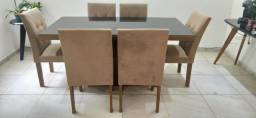 Mesa  de Jantar + 6 cadeiras - madeira com estofado e tampo de vidro