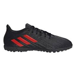 Chuteira Society Adidas Deportivo - Exclusiva - Preto+Vermelho