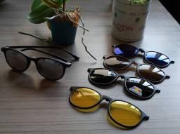 Armação Clip On, promoção R$89,90, óculos